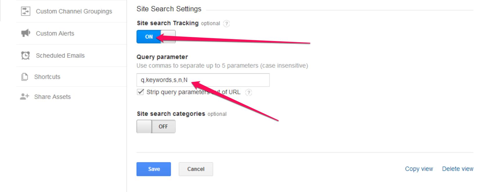 Activate site search